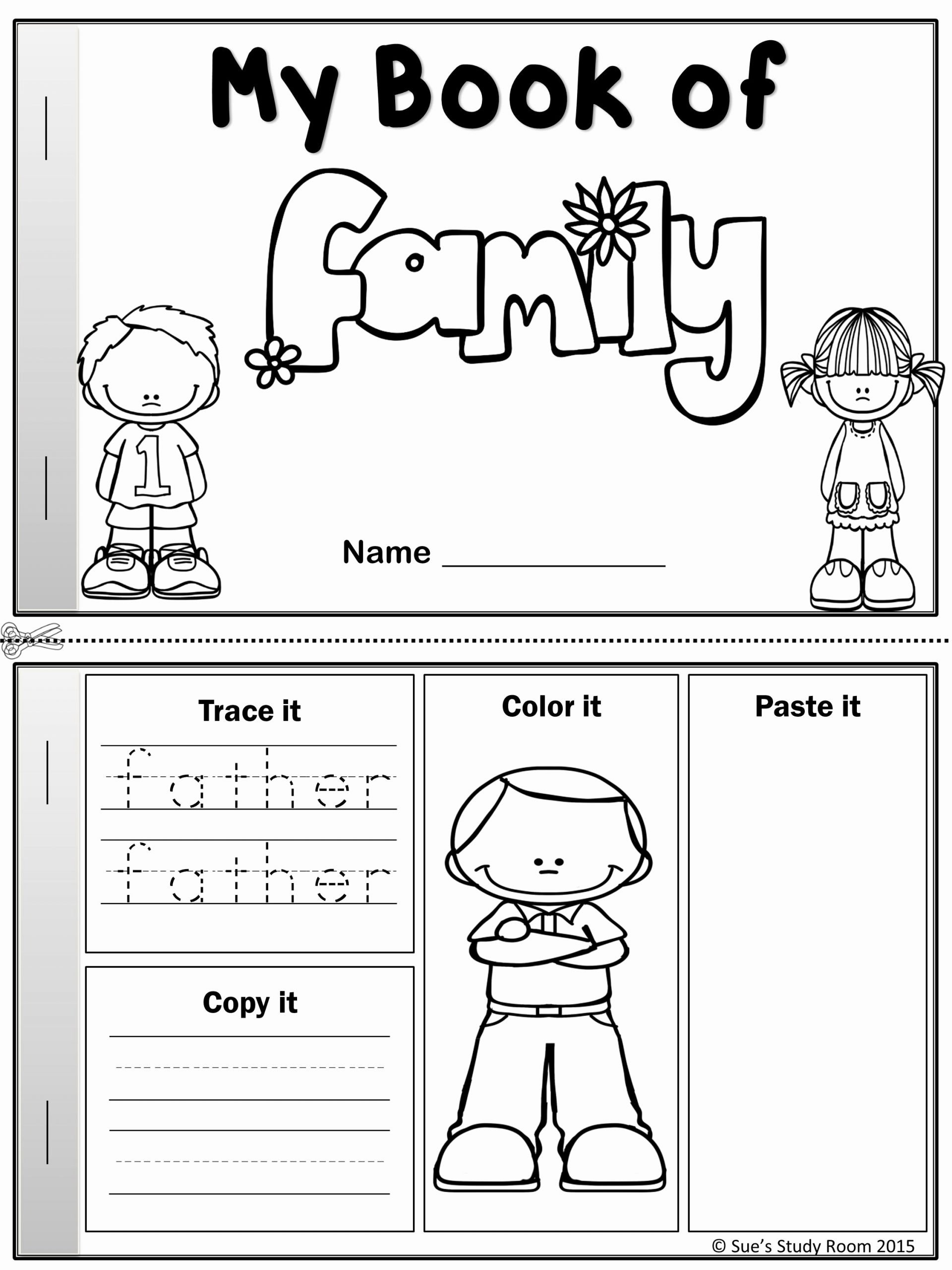 Family Worksheets for Preschoolers Free My Word Book Of Family Members