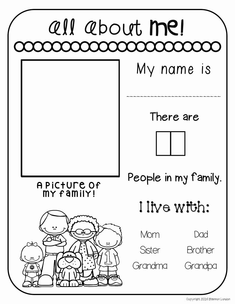 Family Worksheets for Preschoolers Printable All About My Family Freebie