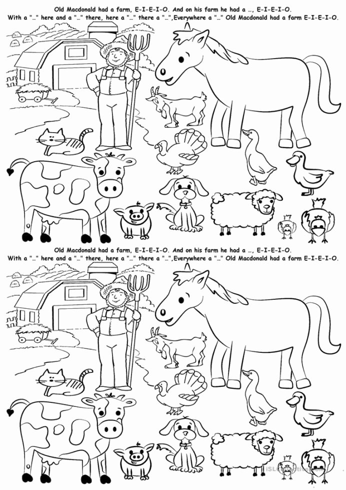 Farm Animal Worksheets for Preschoolers New English Esl Animals Farm Worksheets Most Downloaded Results