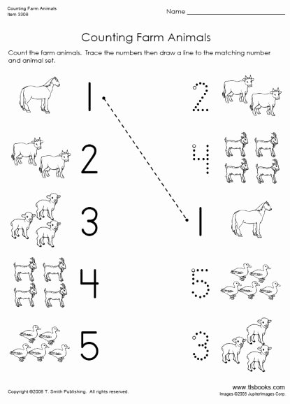 Farm Animal Worksheets for Preschoolers Printable Counting Farm Animals