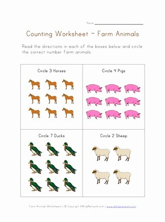 Farm Animals Math Worksheets for Preschoolers Free Counting Worksheet Farm Animals theme