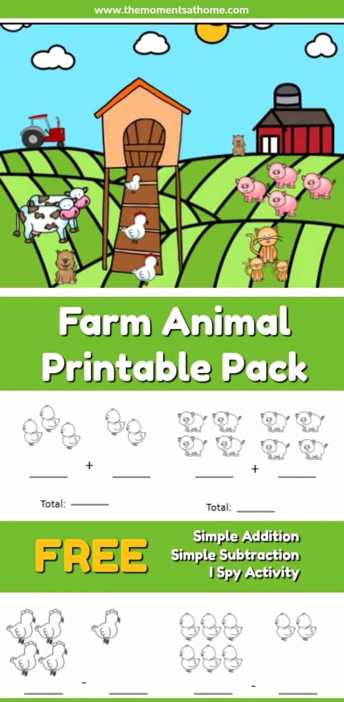 Farm Animals Math Worksheets for Preschoolers Lovely Farm Animal Addition and Subtraction Worksheets the