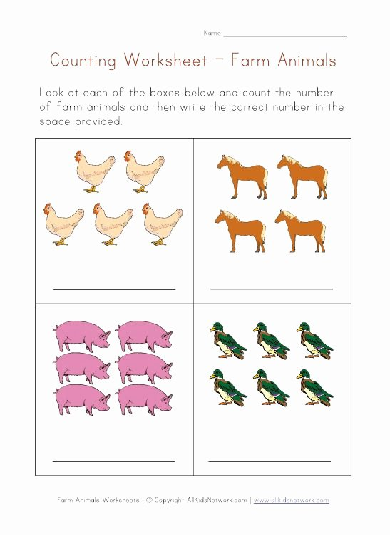 Farm Animals Math Worksheets for Preschoolers top Math Worksheet Counting Farm Animals