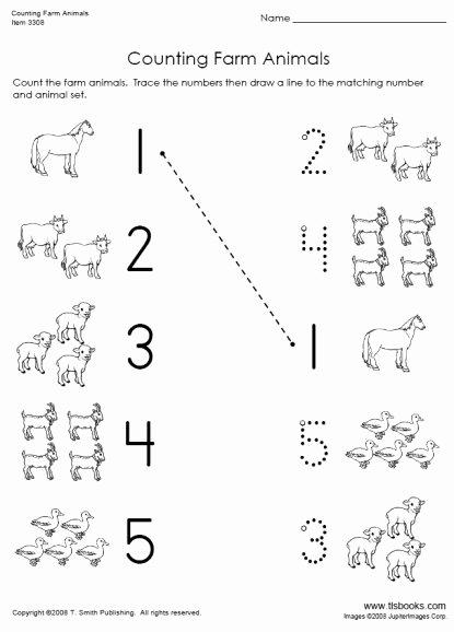 Farm Animals Worksheets for Preschoolers Fresh Counting Farm Animals