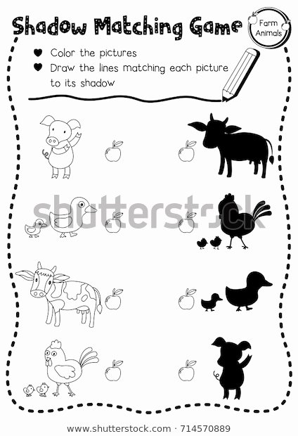 Farm Animals Worksheets for Preschoolers Kids Shadow Matching Game Farm Animals Preschool Stock