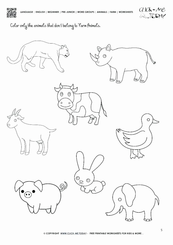 Farm Animals Worksheets for Preschoolers Lovely Farm Animals Worksheets for Kindergarten Worksheets Think