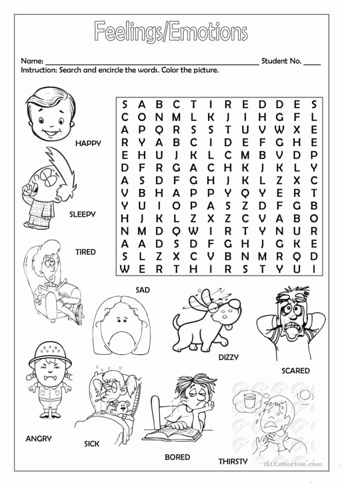 Feelings Worksheets for Preschoolers Kids Feelings Emotions with English Worksheets for Kids