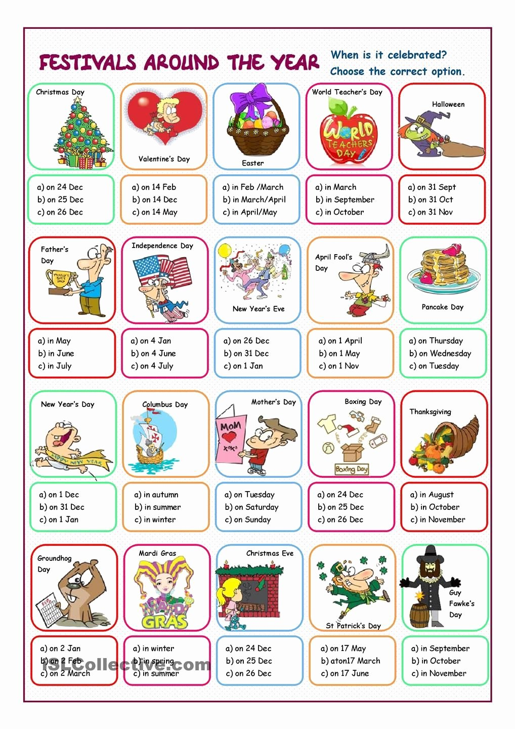 Festival Worksheets for Preschoolers Best Of Festivals Around the Year Multiple Choice