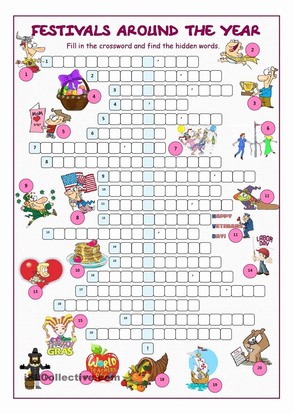 Festival Worksheets for Preschoolers Inspirational Festivals Around the Year Crossword Puzzle