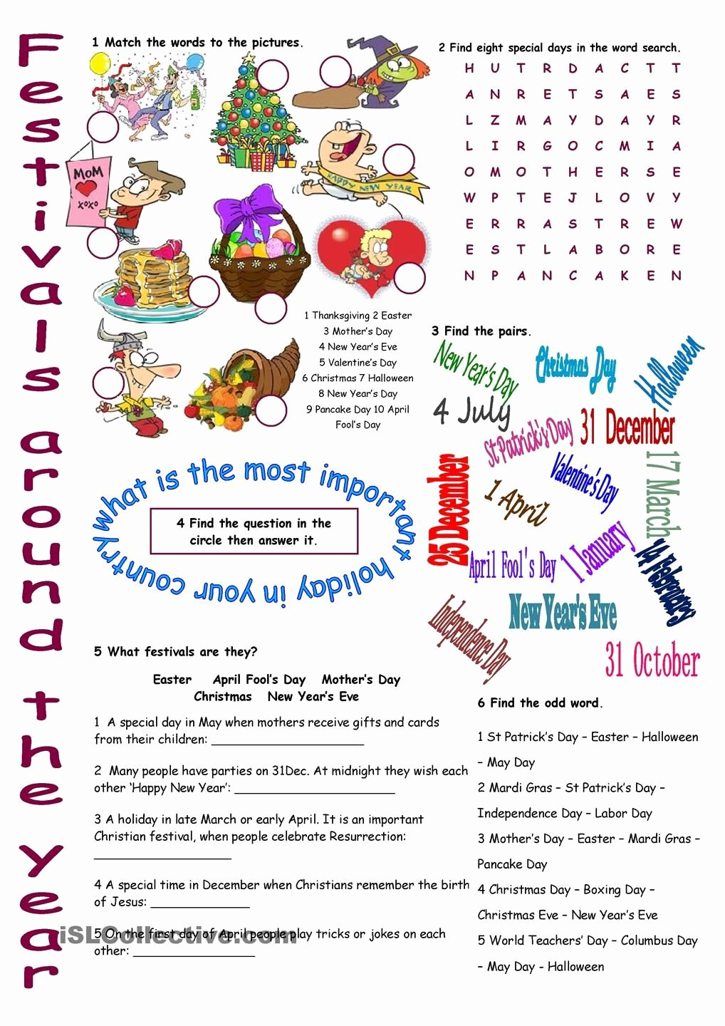 Festival Worksheets for Preschoolers Lovely Festivals Around the Year Vocabulary Exercises