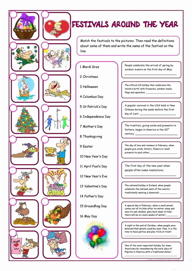 Festival Worksheets for Preschoolers New Festivals Around the Year Reading & Matching Worksheet