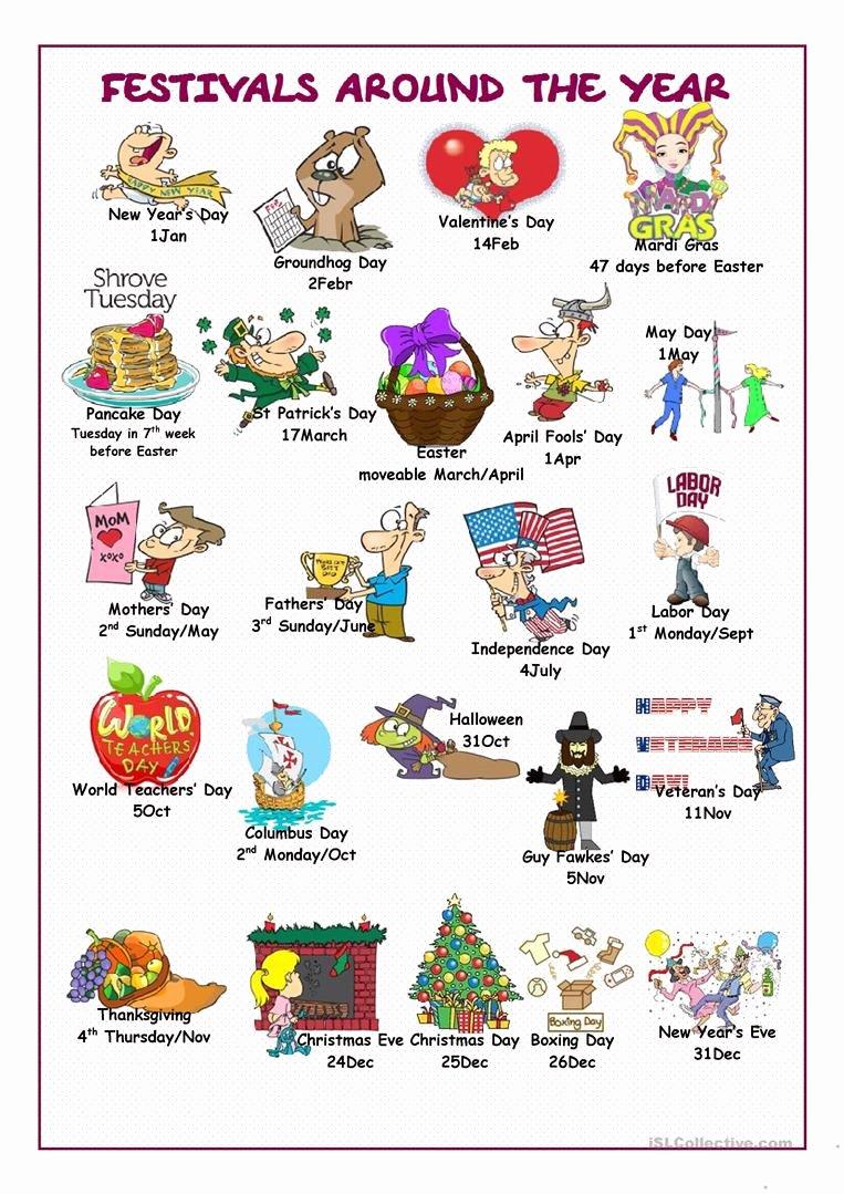 Festival Worksheets for Preschoolers Printable English Esl Festivals Worksheets Most Ed 52 Results