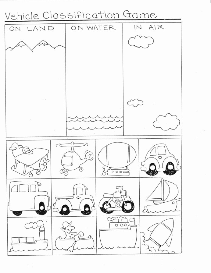 Few and Many Worksheets for Preschoolers Kids Preschool Printables Transportation Worksheet Body Parts