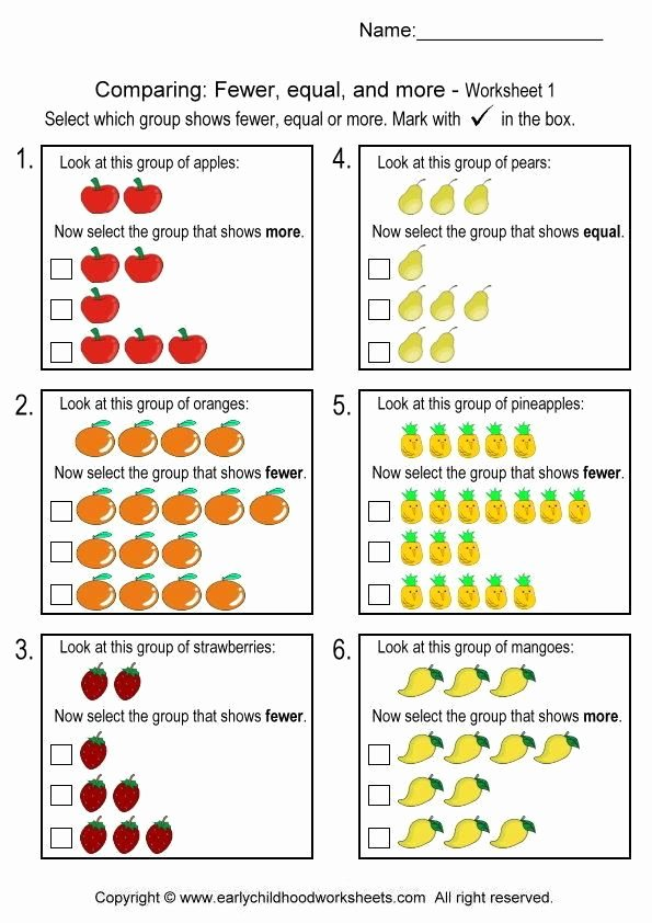 Few and Many Worksheets for Preschoolers Printable Paring Fewer Equal and More Worksheet 1
