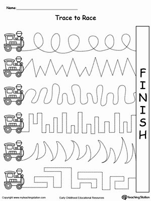 Fine Motor Skills Worksheets for Preschoolers Free Trace to Race Train Track