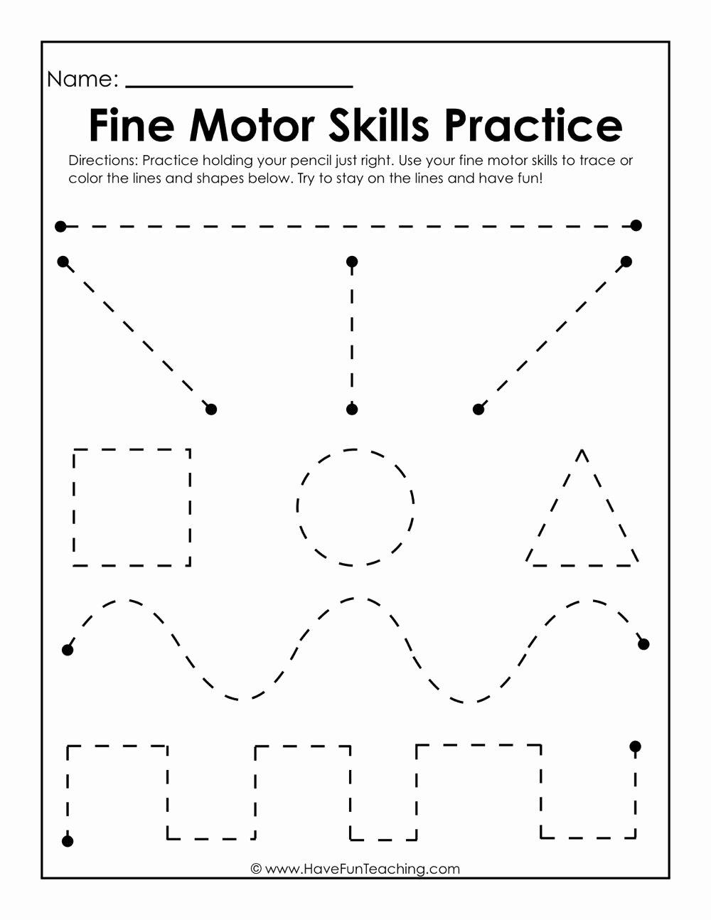Fine Motor Skills Worksheets for Preschoolers Printable Fine Motor Skills Practice Worksheet
