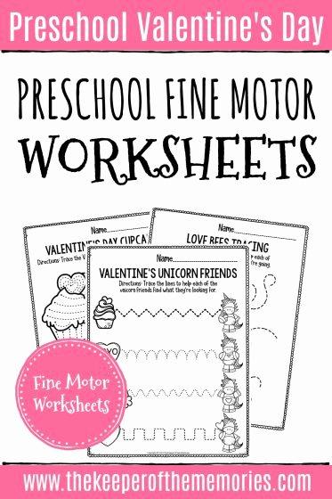 Fine Motor Worksheets for Preschoolers Printable Printable Fine Motor Valentine S Day Preschool Worksheets