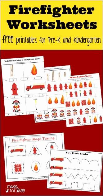 Firefighter Printable Worksheets for Preschoolers Inspirational Firefighter Kindergarten Worksheets Mess for Less