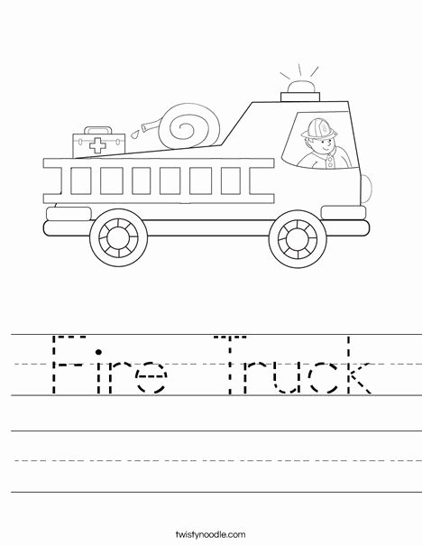Firefighter Printable Worksheets for Preschoolers top Fire Truck Worksheet