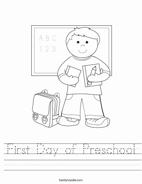 First Day Of School Worksheets for Preschoolers Fresh First Day Of Preschool Worksheet Twisty Noodle