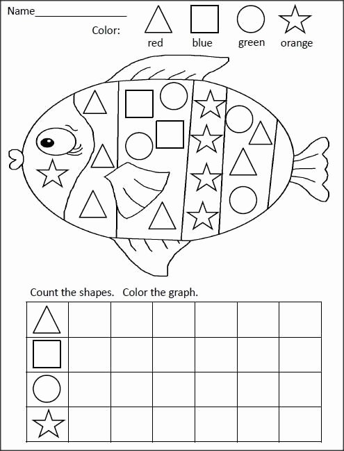 Fish Worksheets for Preschoolers Kids Fish Shape Graph Worksheet