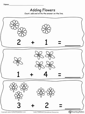 Flowers Worksheets for Preschoolers New Worksheet Adding Numbers with Flowers Sums to Preschool