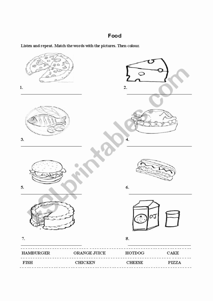 Food Worksheets for Preschoolers Kids Food Worksheet for Kids Esl by Diana Florina Worksheets
