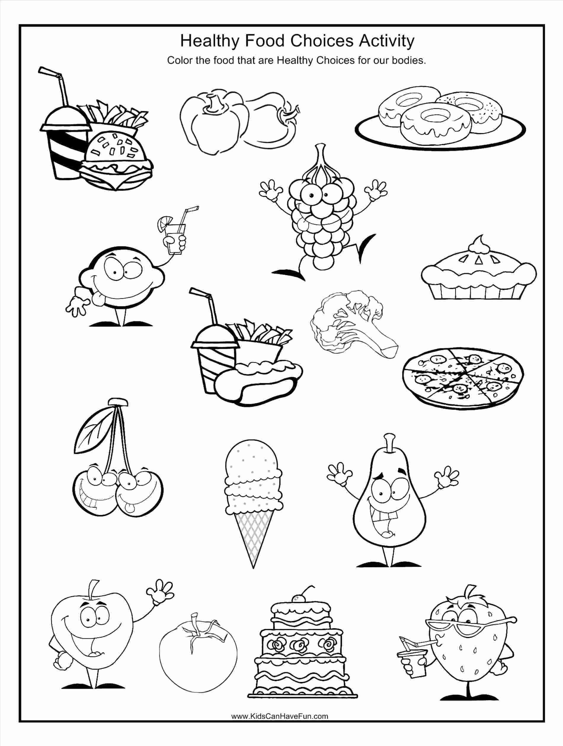 Food Worksheets for Preschoolers Kids Go Foods Coloring Healthy Food Worksheets for Kids
