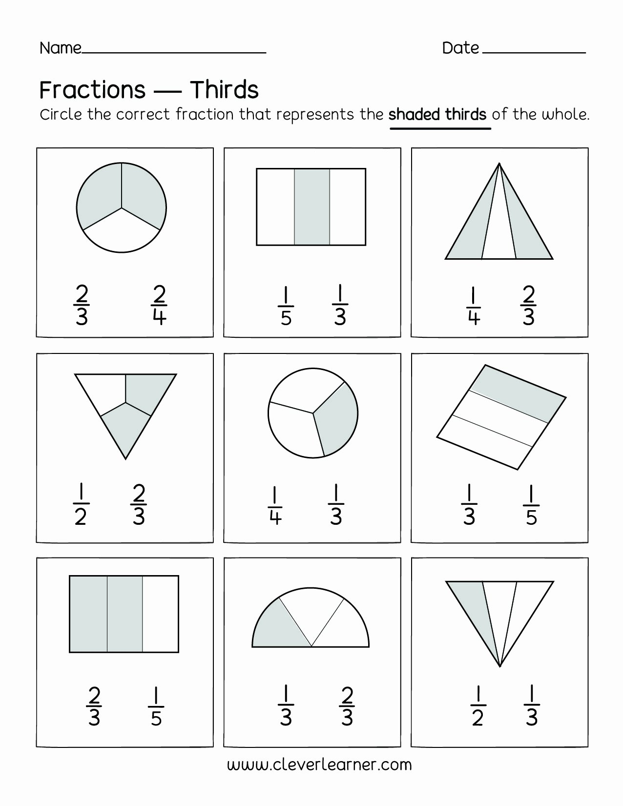 Fraction Worksheets for Preschoolers Best Of Fun Activity Fractions Thirds Worksheets for Children