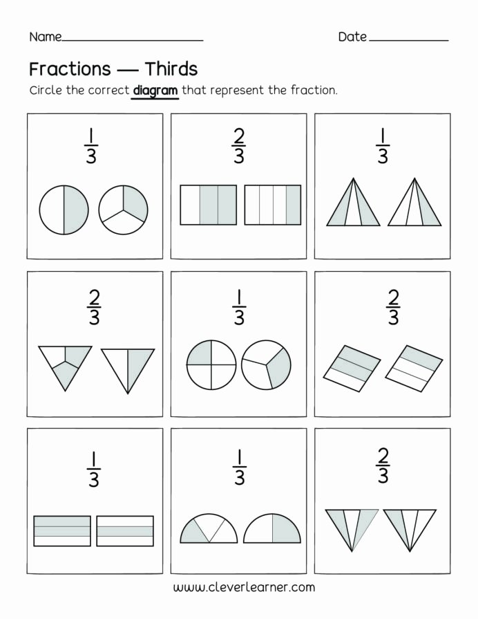 Fraction Worksheets for Preschoolers Fresh Fun Activity Fractions Thirds Worksheets for Children