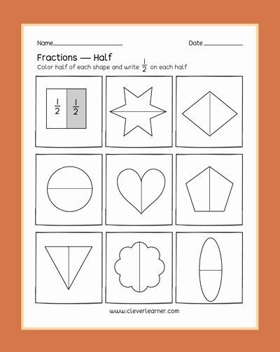 Fraction Worksheets for Preschoolers Fresh Preschool Fractions Activities Learning About Halves Half