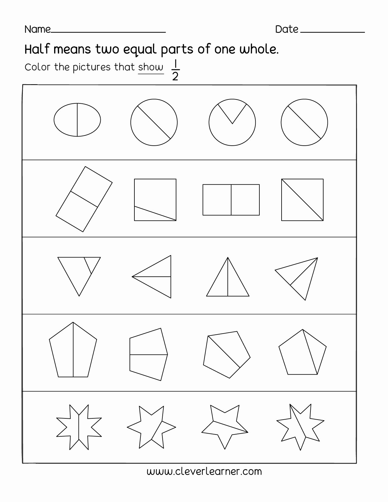 Fraction Worksheets for Preschoolers Ideas Fun Activity On Fractions Half 1 2 Worksheets for Children