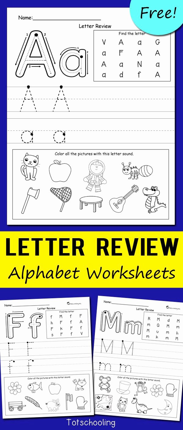 Free Alphabet Worksheets for Preschoolers Inspirational Letter Review Alphabet Worksheets
