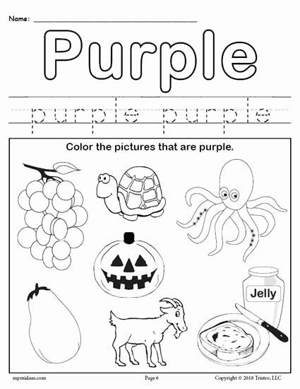 Free Color Worksheets for Preschoolers Ideas Color Purple Worksheet