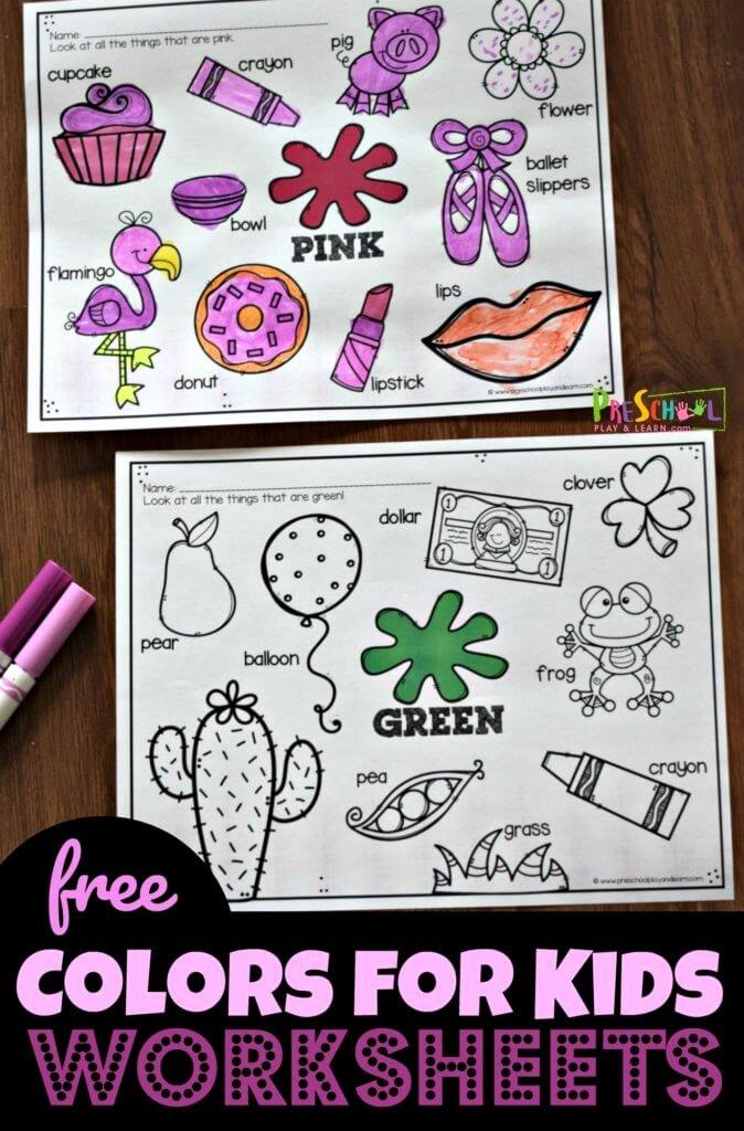 Free Color Worksheets for Preschoolers Printable Free Color Worksheets for Kids