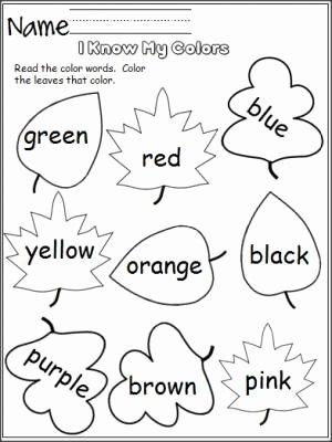 Free Color Worksheets for Preschoolers Printable I Know My Colors Leaves Madebyteachers