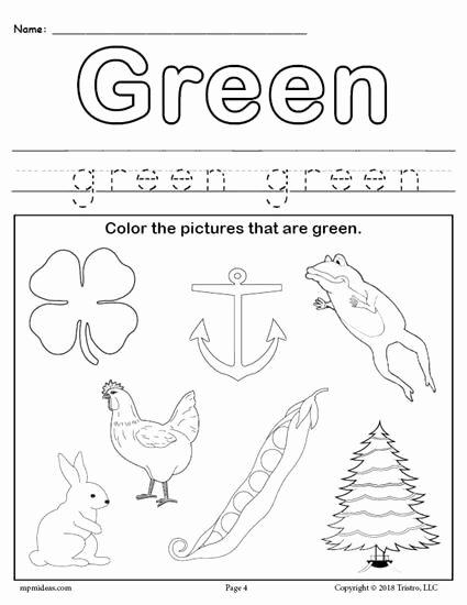 Free Color Worksheets for Preschoolers top Free Color Green Worksheet