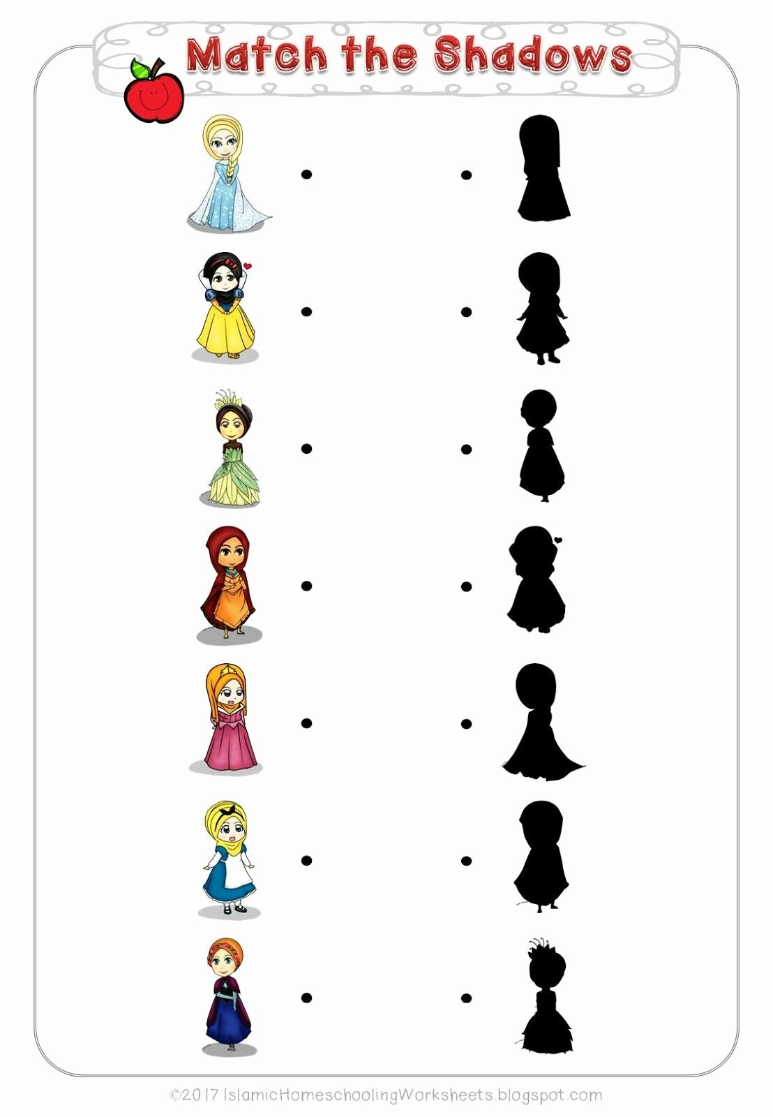 Free Disney Worksheets for Preschoolers Fresh Match the Shadows In Free Disney Princess Preschool Pack