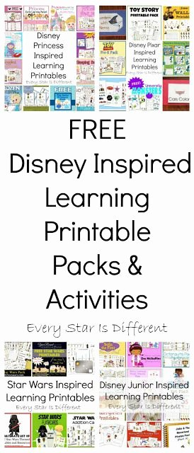 Free Disney Worksheets for Preschoolers Ideas Free Disney Inspired Learning Printable Packs & Activities