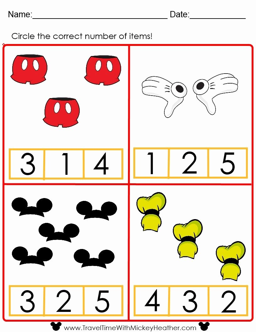 Free Disney Worksheets for Preschoolers top Disney Counting Worksheet Activities Math Mickey Mouse