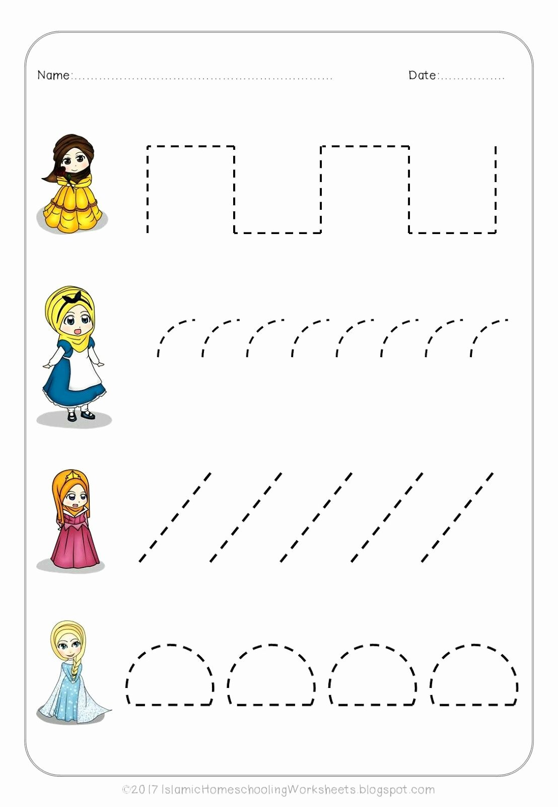 Free Disney Worksheets for Preschoolers top Free Prewriting Practice In Disney Princess Preschool Pack