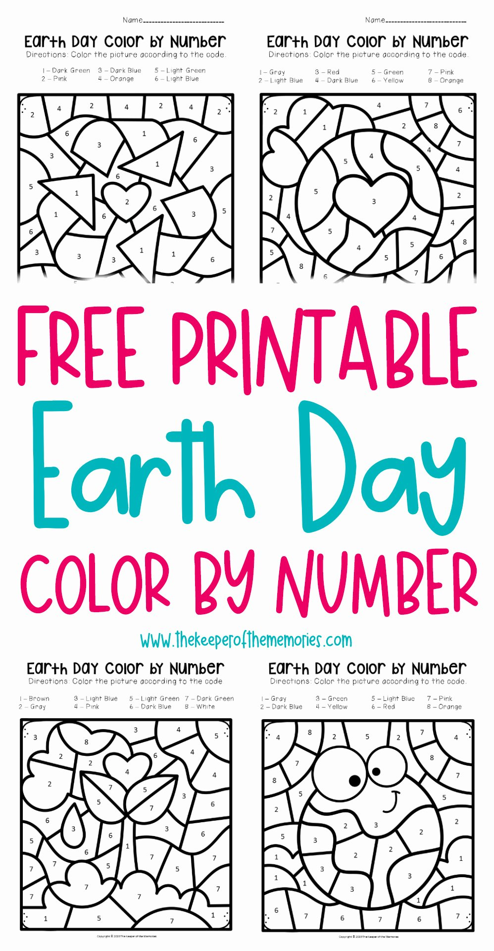 Free Earth Day Worksheets for Preschoolers Kids Free Printable Color by Number Earth Day Preschool