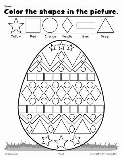 Free Easter Printable Worksheets for Preschoolers Best Of Easter Egg Shapes Worksheet & Coloring Page