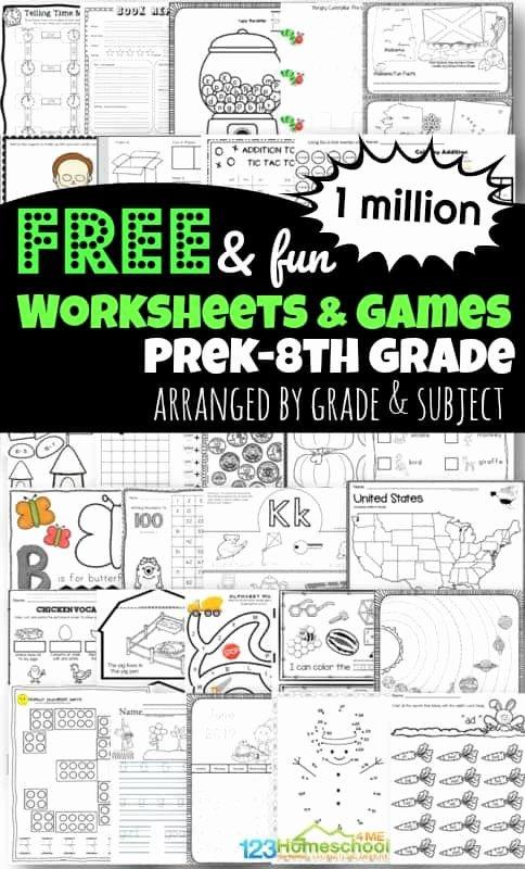 Free Homeschooling Worksheets for Preschoolers Fresh 1 Million Free Worksheets for Kids
