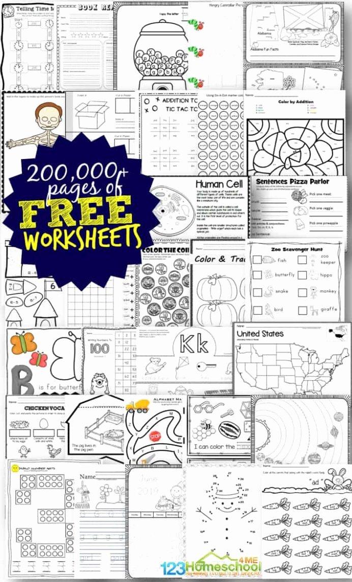Free Homeschooling Worksheets for Preschoolers Ideas Free Worksheets for Prek 12th Homeschool Printable Not Math