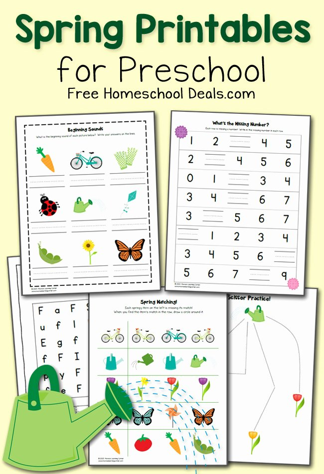 Free Homeschooling Worksheets for Preschoolers top Free Spring Printables Pack for Preschool Instant Homeschool