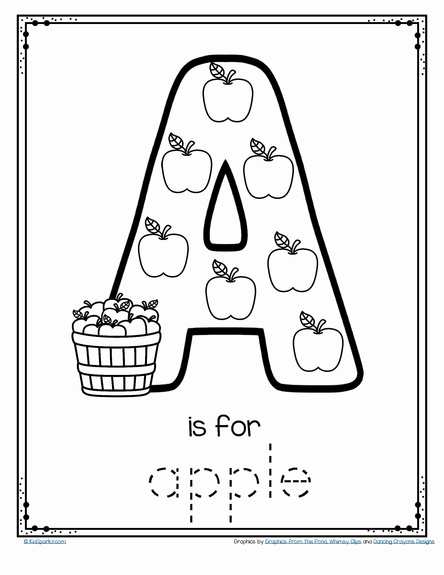 Free Letter A Worksheets for Preschoolers Kids Letter A is for Apple Trace and Color Printable Free