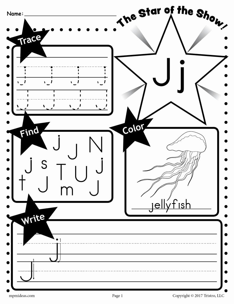 Free Letter J Worksheets for Preschoolers Free Letter J Worksheet Tracing Coloring Writing & More