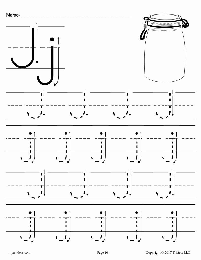 Free Letter J Worksheets for Preschoolers Inspirational Free Printable Letter J Tracing Worksheet with Number and