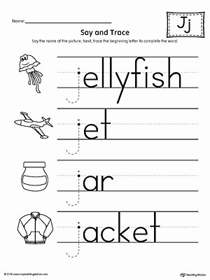 Free Letter J Worksheets for Preschoolers Kids Say and Trace Letter J Beginning sound Words Worksheet
